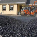 construction roller on fresh tarmac